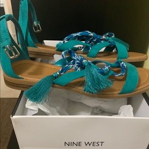 Nine West faux suede turquoise sandal